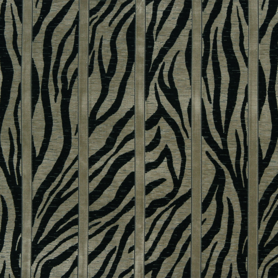 RUSTIC STRIPES AND PLAIDS UPH Zebra Stripe Fabric - Ebony