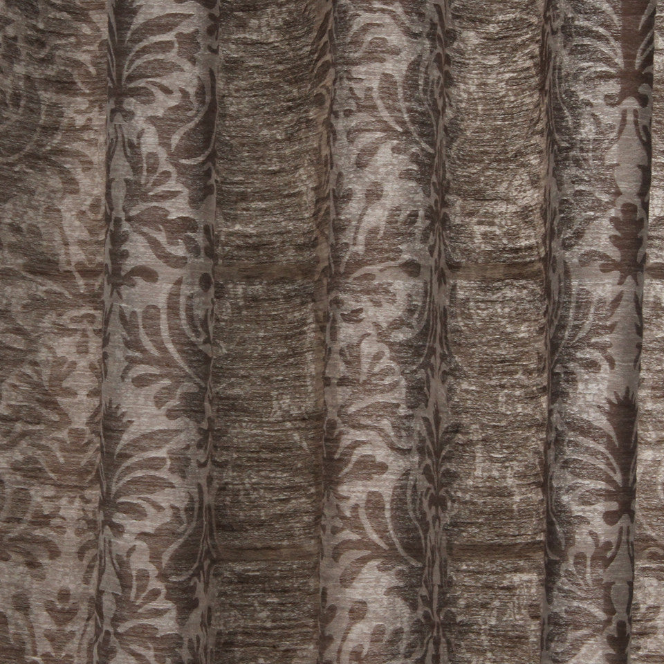 NATURAL SHEERS DARK NEUTRALS Sand Coral Fabric - Chocolate