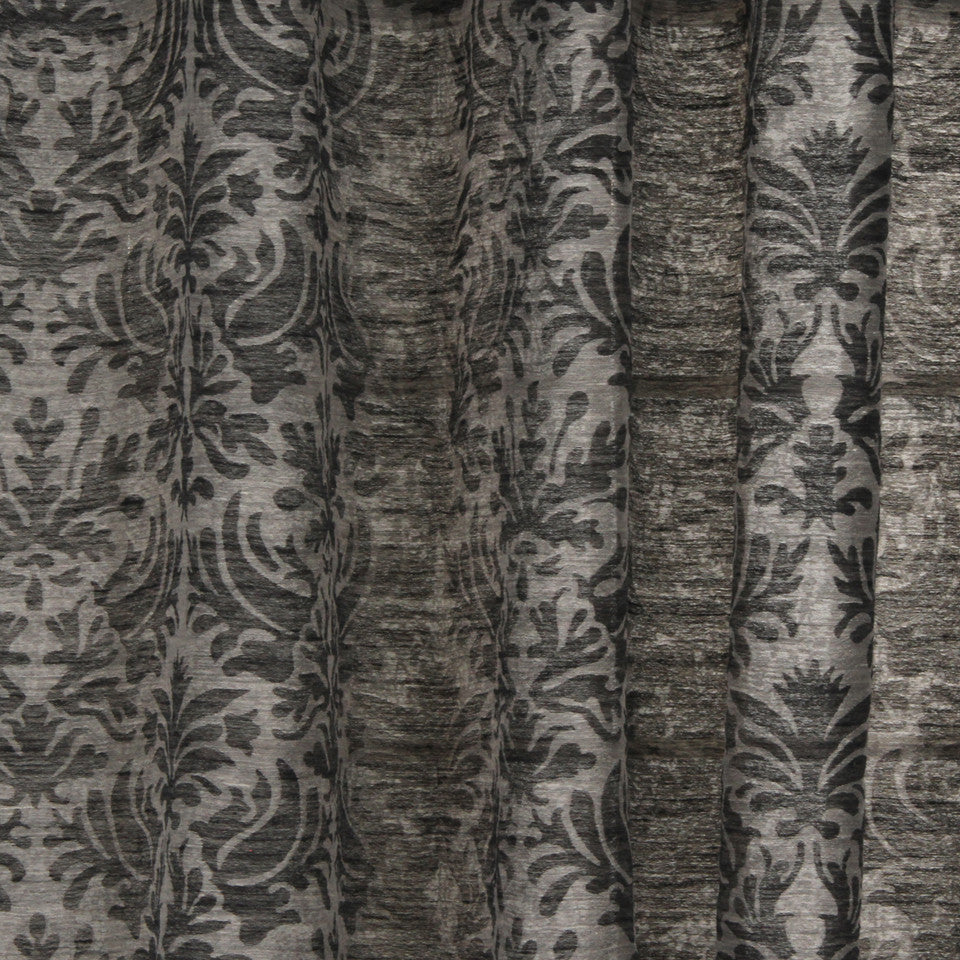 NATURAL SHEERS DARK NEUTRALS Sand Coral Fabric - Black