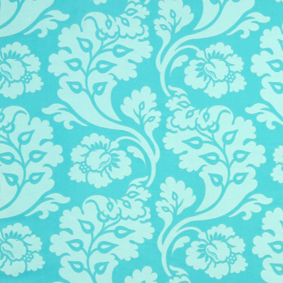 TURQUOISE Shadow Vines Fabric - Pacific