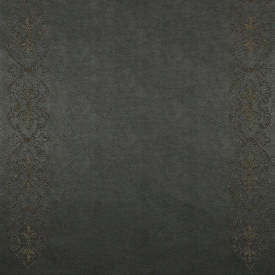 RUSTIC STRIPES AND PLAIDS UPH Sybille Scroll Fabric - Ebony