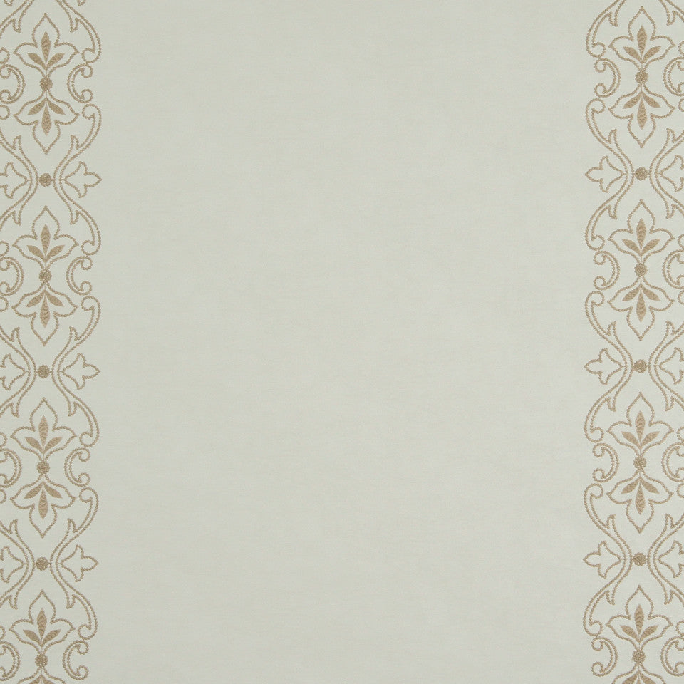 RUSTIC STRIPES AND PLAIDS UPH Sybille Scroll Fabric - Linen