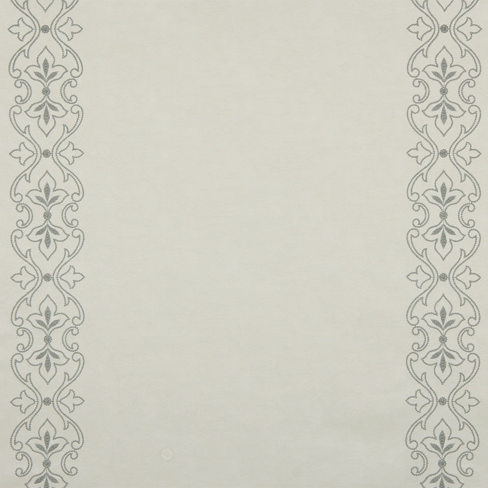 RUSTIC STRIPES AND PLAIDS UPH Sybille Scroll Fabric - Ice