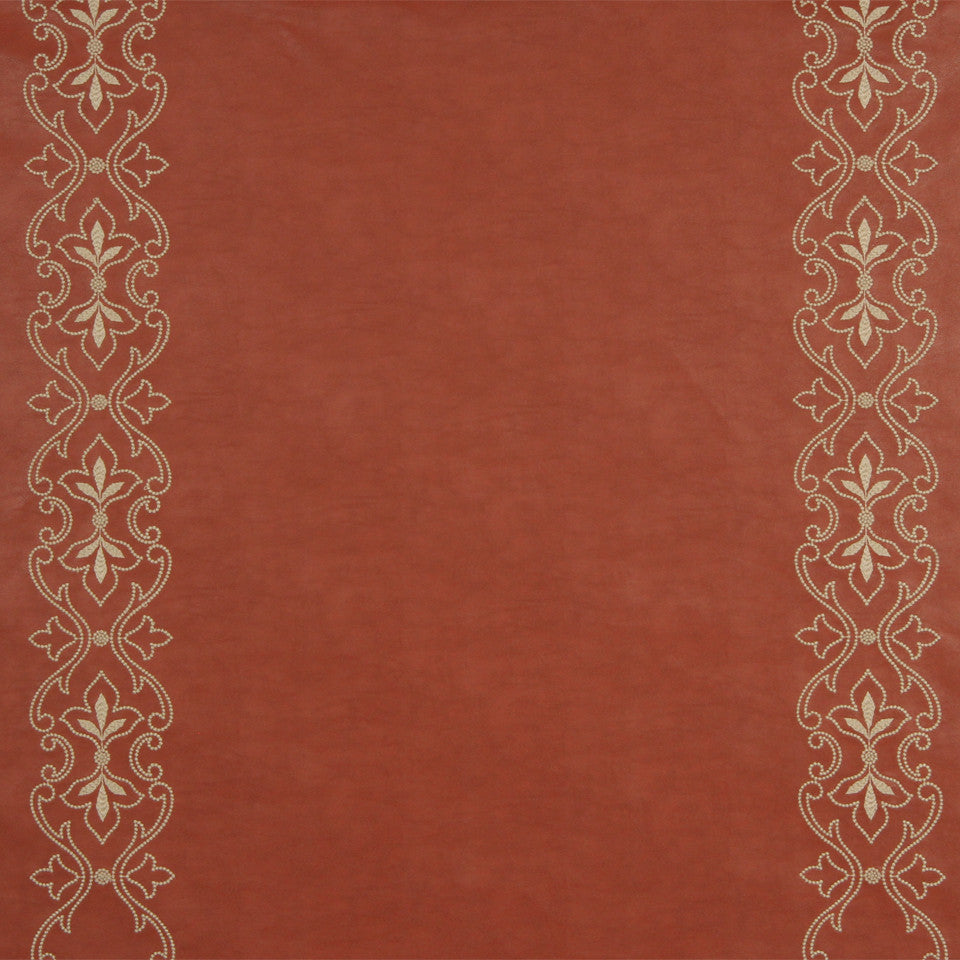 RUSTIC STRIPES AND PLAIDS UPH Sybille Scroll Fabric - Persimmon