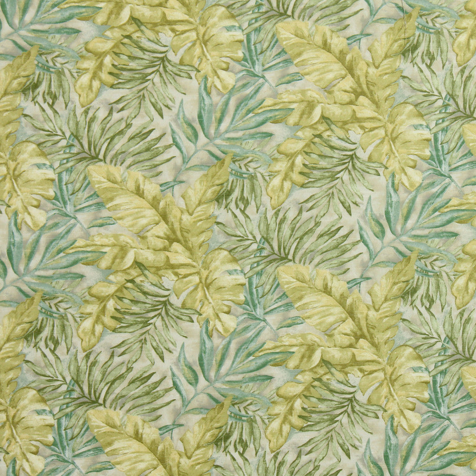 KIWI-ARTICHOKE-ZEST Monsoon Leaf Fabric - Aloe
