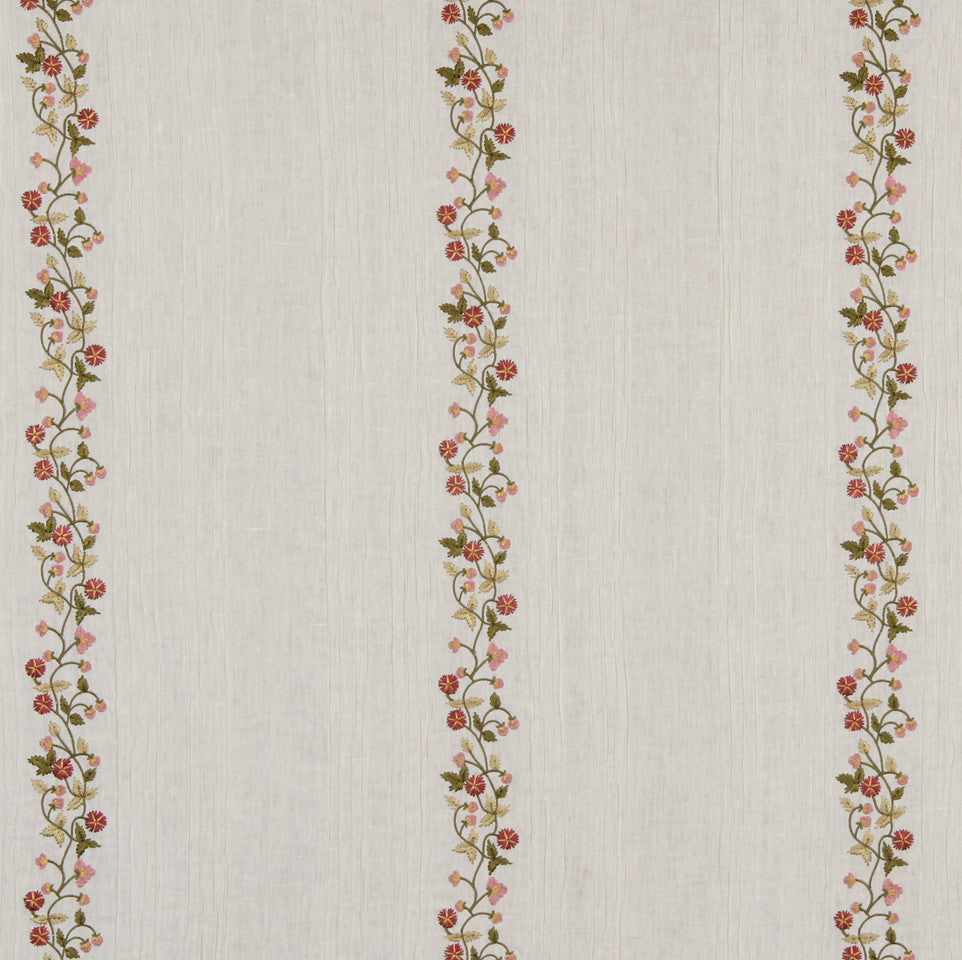 LINEN STRIPES & PLAIDS Fresh Flowers Fabric - Petal