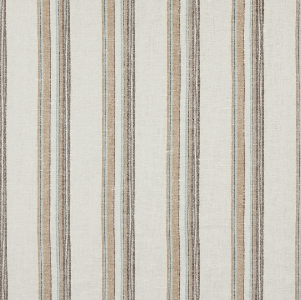 LINEN STRIPES & PLAIDS Abigail Stripe Fabric - Wintermint