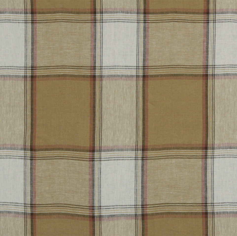 LINEN STRIPES & PLAIDS Vintage Plaid Fabric - Camel
