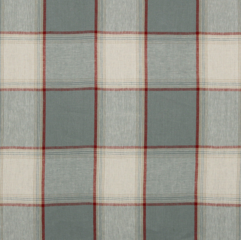LINEN STRIPES & PLAIDS Vintage Plaid Fabric - Chambray