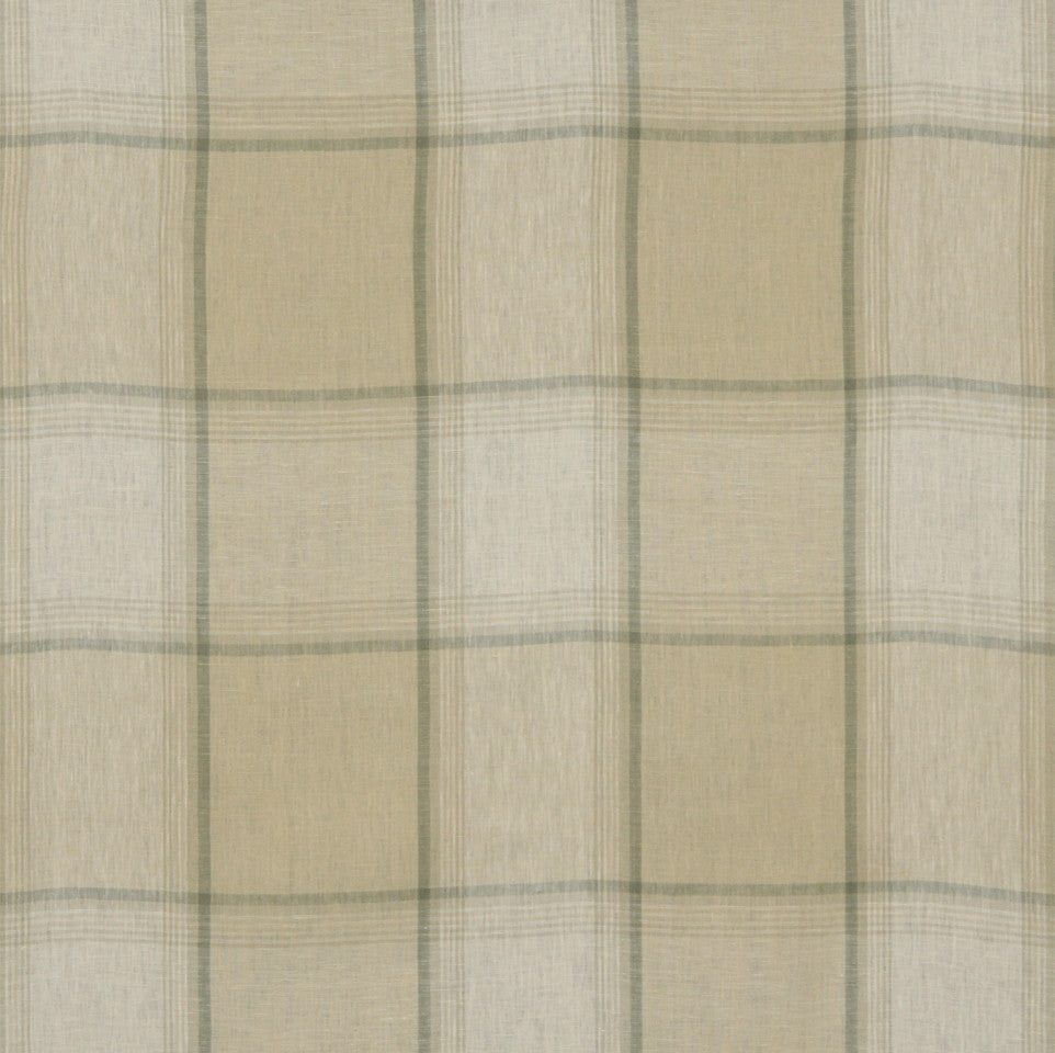 LINEN STRIPES & PLAIDS Vintage Plaid Fabric - Parchment