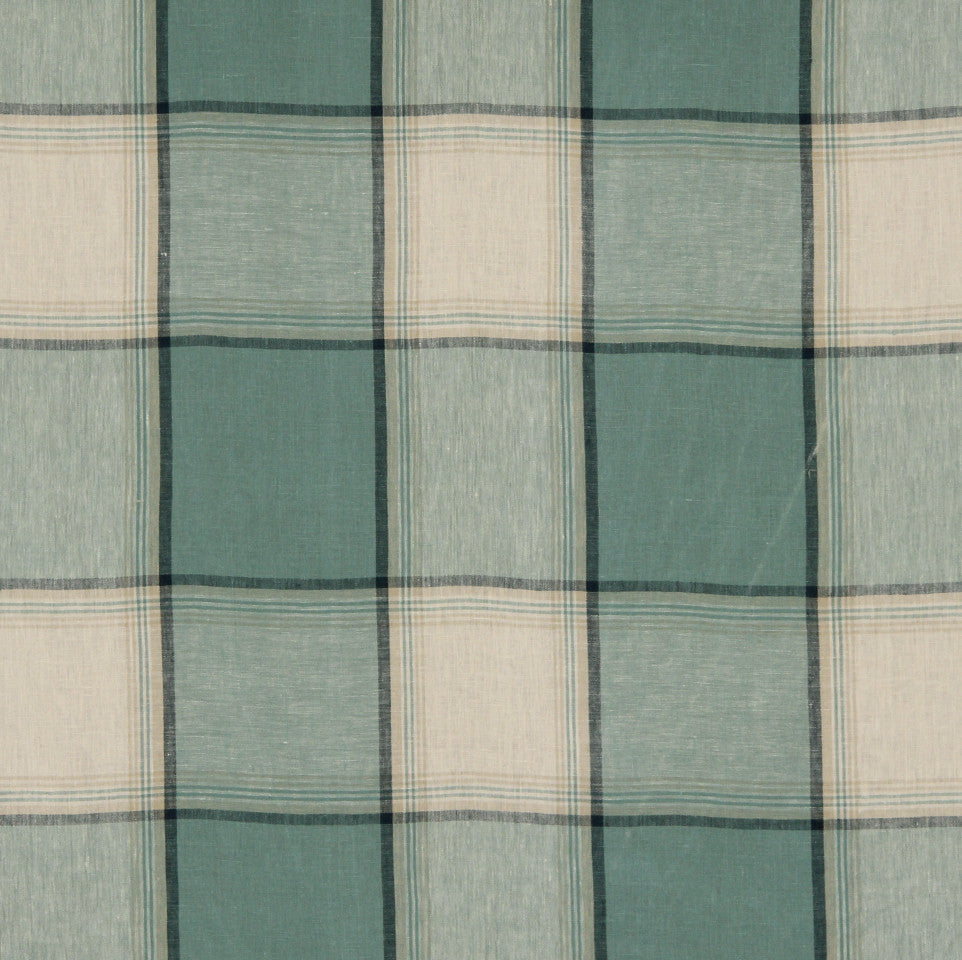 LINEN STRIPES & PLAIDS Vintage Plaid Fabric - Stream