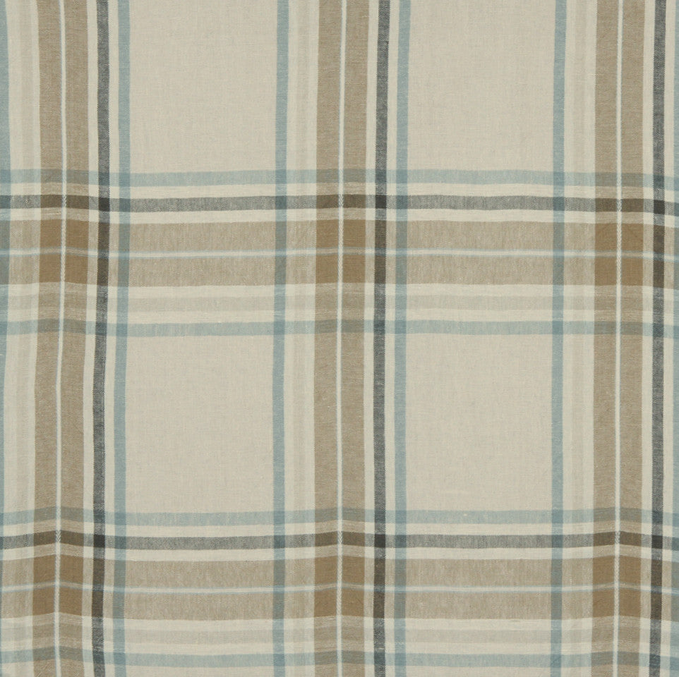 LINEN STRIPES & PLAIDS Josie Plaid Fabric - Mineral