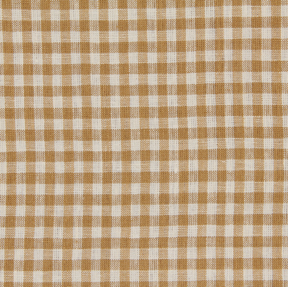 LINEN STRIPES & PLAIDS Petit Check Fabric - Nugget