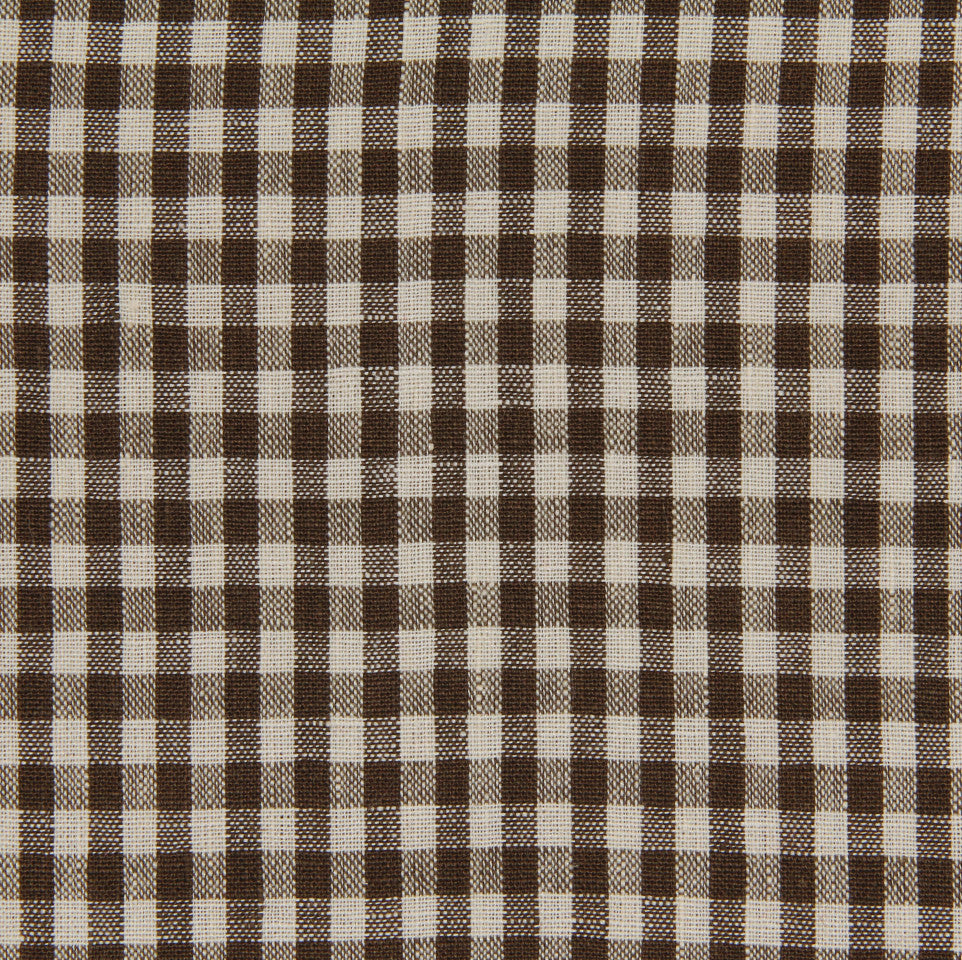 LINEN STRIPES & PLAIDS Petit Check Fabric - Espresso