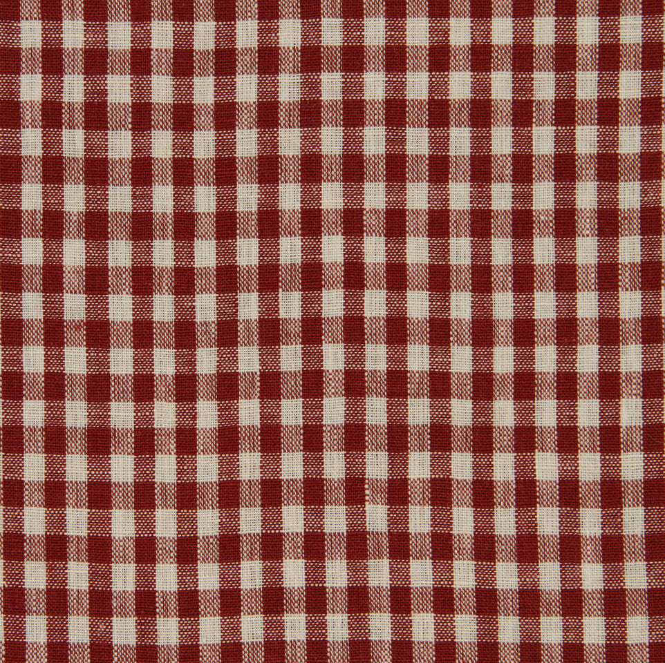 LINEN STRIPES & PLAIDS Petit Check Fabric - Poppy