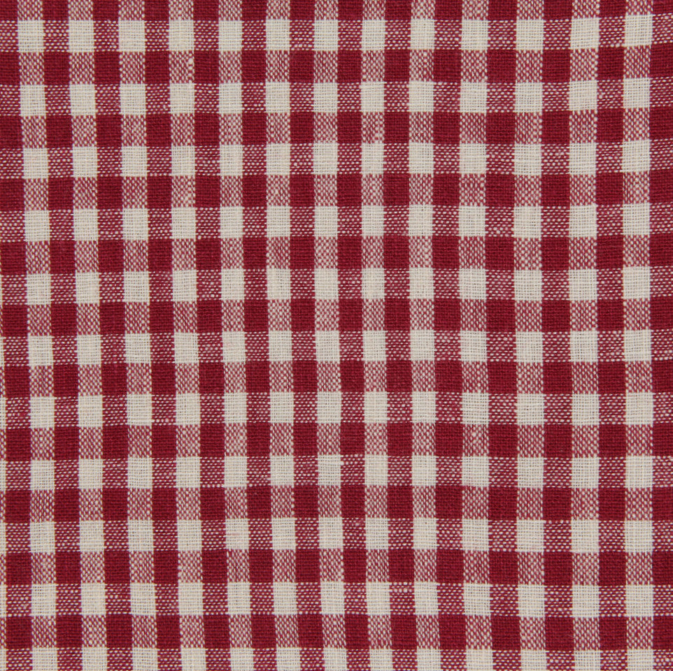 LINEN STRIPES & PLAIDS Petit Check Fabric - Peony
