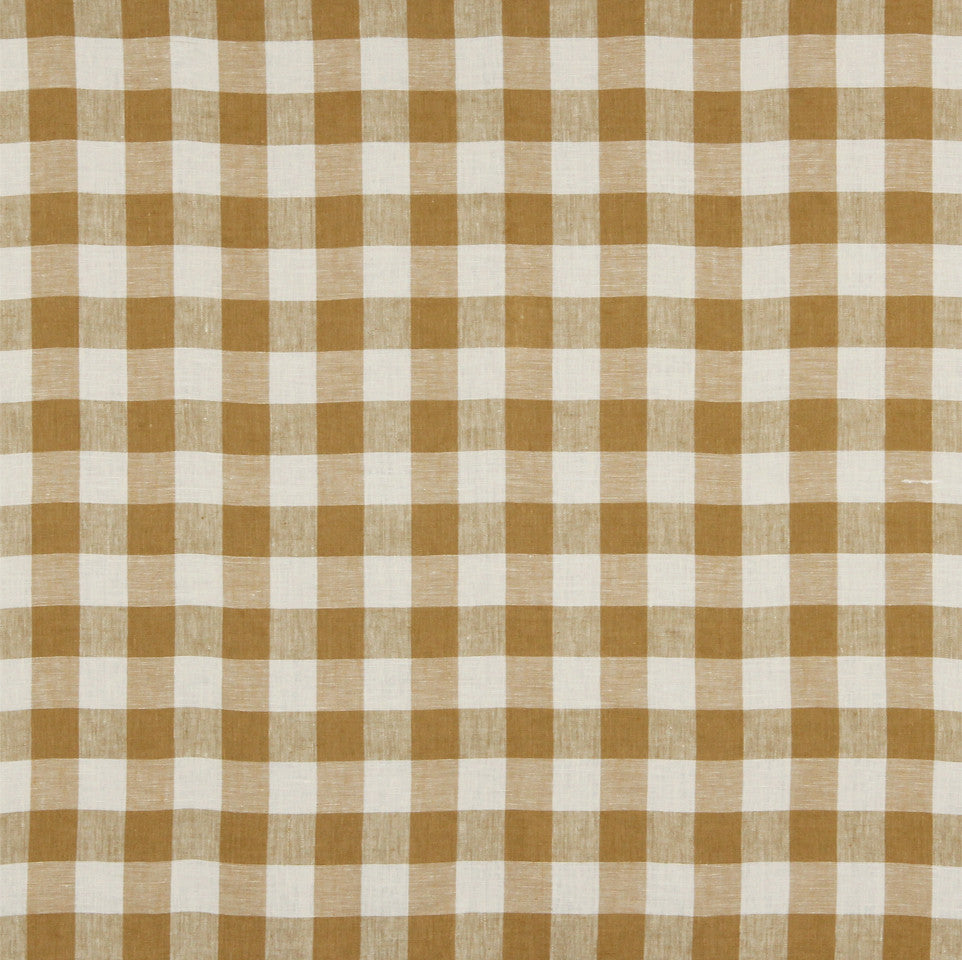 LINEN STRIPES & PLAIDS Moyen Check Fabric - Nugget