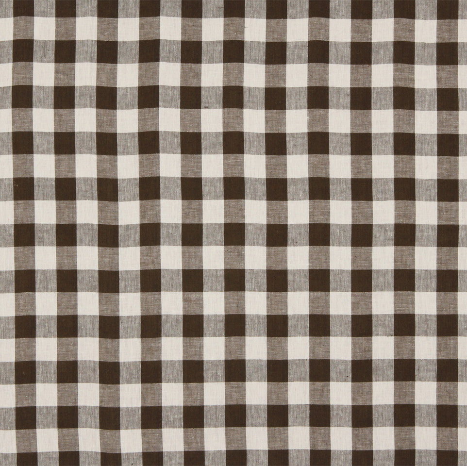 LINEN STRIPES & PLAIDS Moyen Check Fabric - Espresso