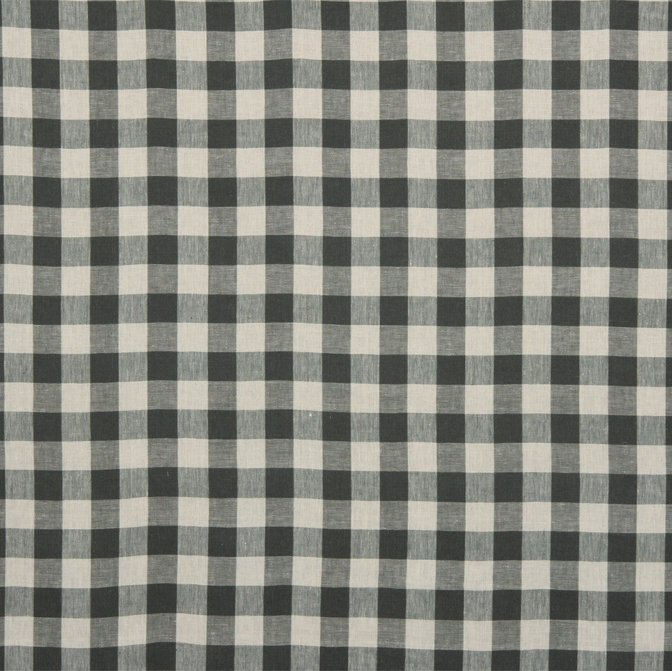 LINEN STRIPES & PLAIDS Moyen Check Fabric - Charcoal