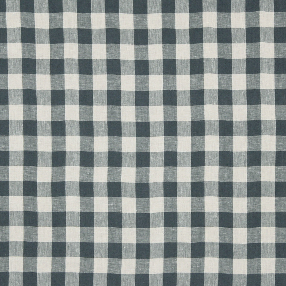 LINEN STRIPES & PLAIDS Moyen Check Fabric - Indigo