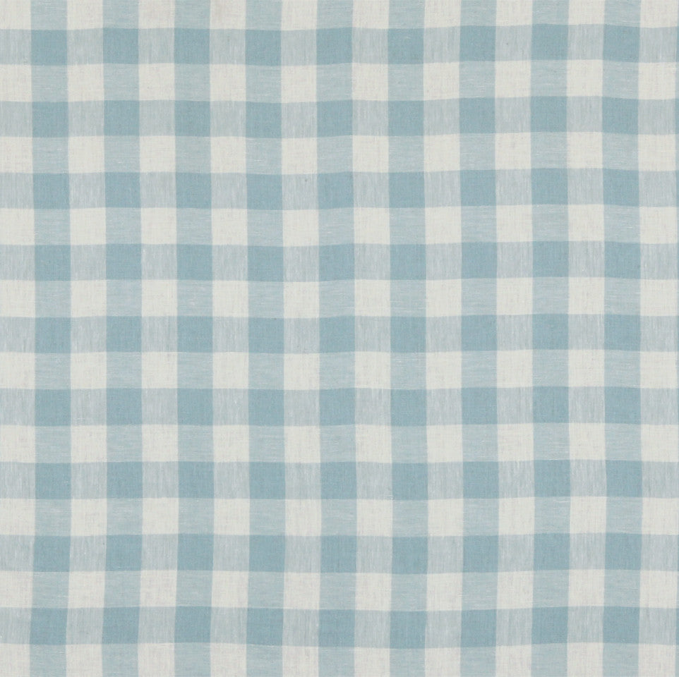 LINEN STRIPES & PLAIDS Moyen Check Fabric - Surf