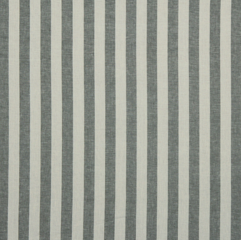 LINEN STRIPES & PLAIDS Moyen Stripe Fabric - Charcoal