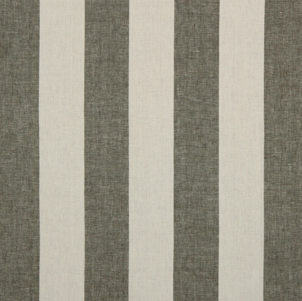 LINEN STRIPES & PLAIDS Grande Stripe Fabric - Espresso