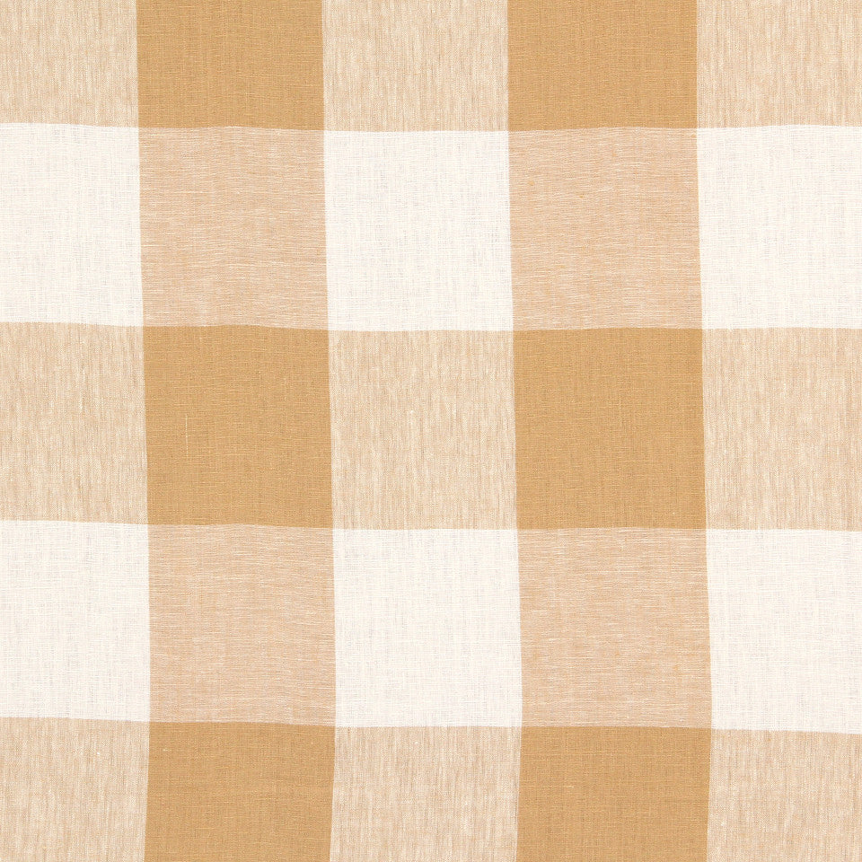 LINEN STRIPES & PLAIDS Grande Check Fabric - Nugget