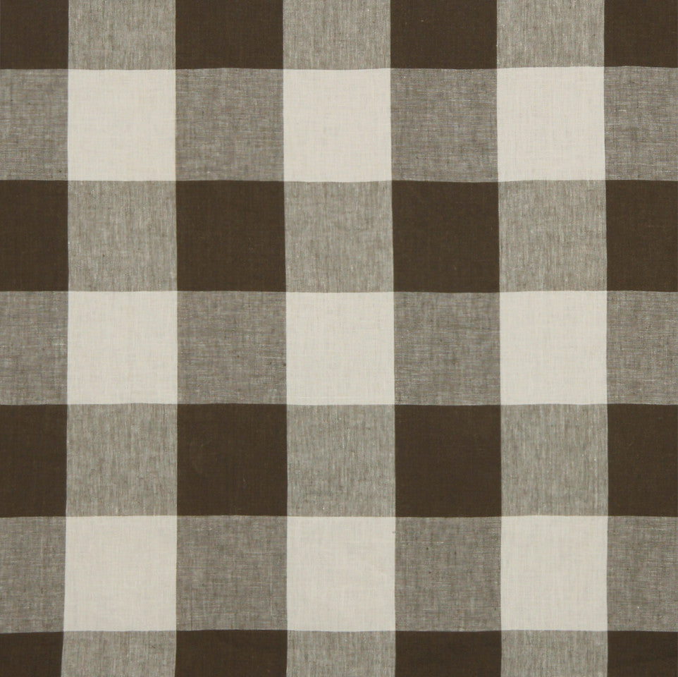 LINEN STRIPES & PLAIDS Grande Check Fabric - Espresso