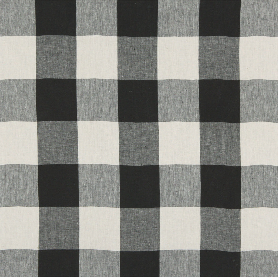 LINEN STRIPES & PLAIDS Grande Check Fabric - Tuxedo