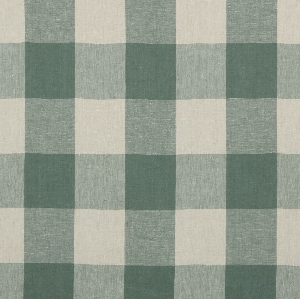 LINEN STRIPES & PLAIDS Grande Check Fabric - Stream