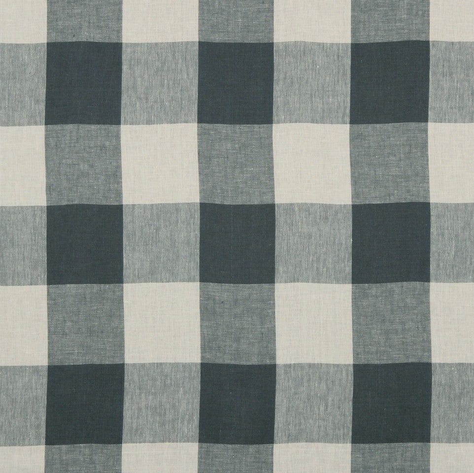LINEN STRIPES & PLAIDS Grande Check Fabric - Indigo