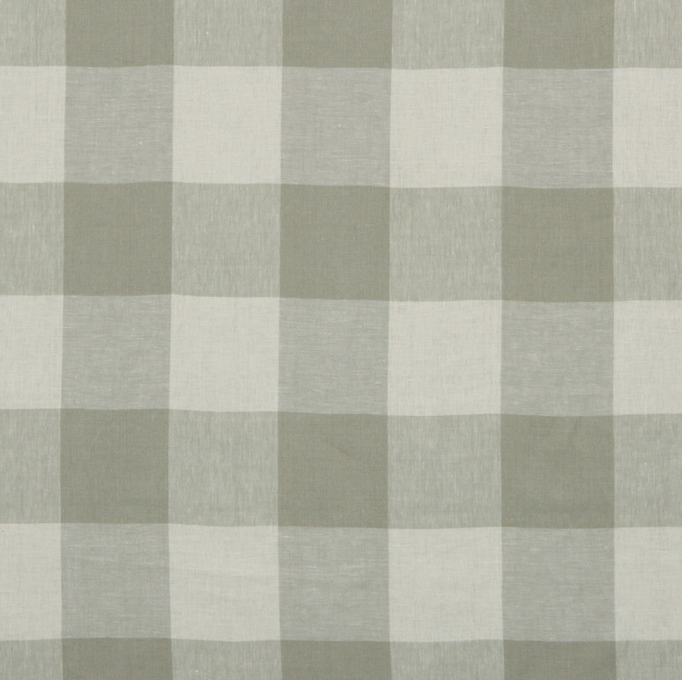 LINEN STRIPES & PLAIDS Grande Check Fabric - Greystone
