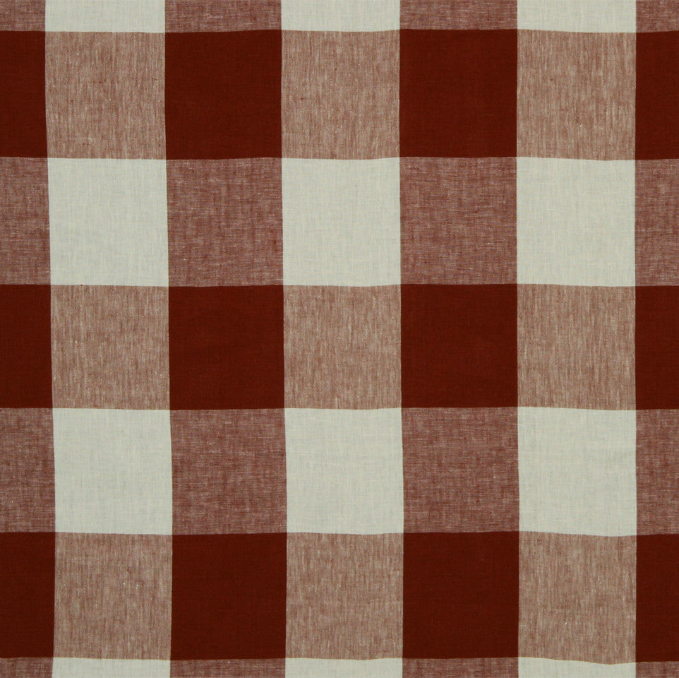 LINEN STRIPES & PLAIDS Grande Check Fabric - Poppy