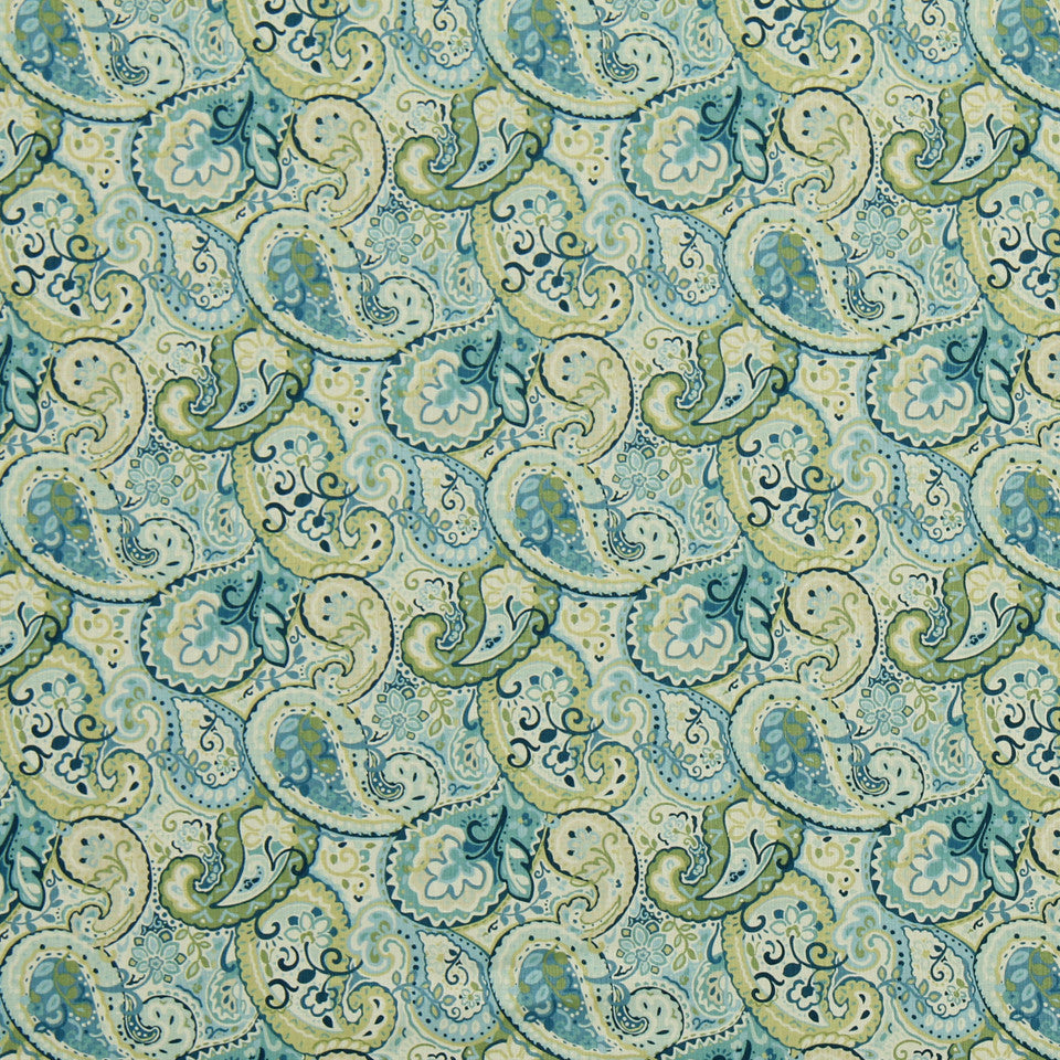 PEWTER-TOURMALINE-BLUEBELL Brite Paisley Fabric - Bluebell