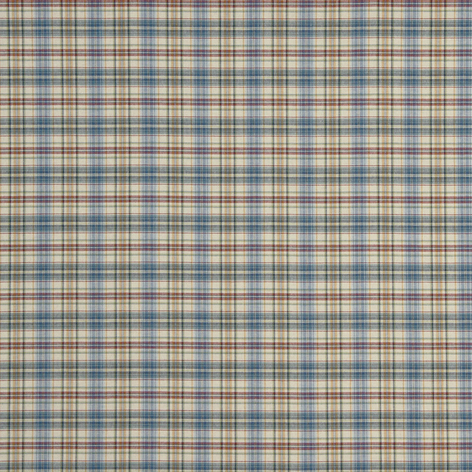 PEWTER-TOURMALINE-BLUEBELL Brite Plaid Fabric - Bluebell