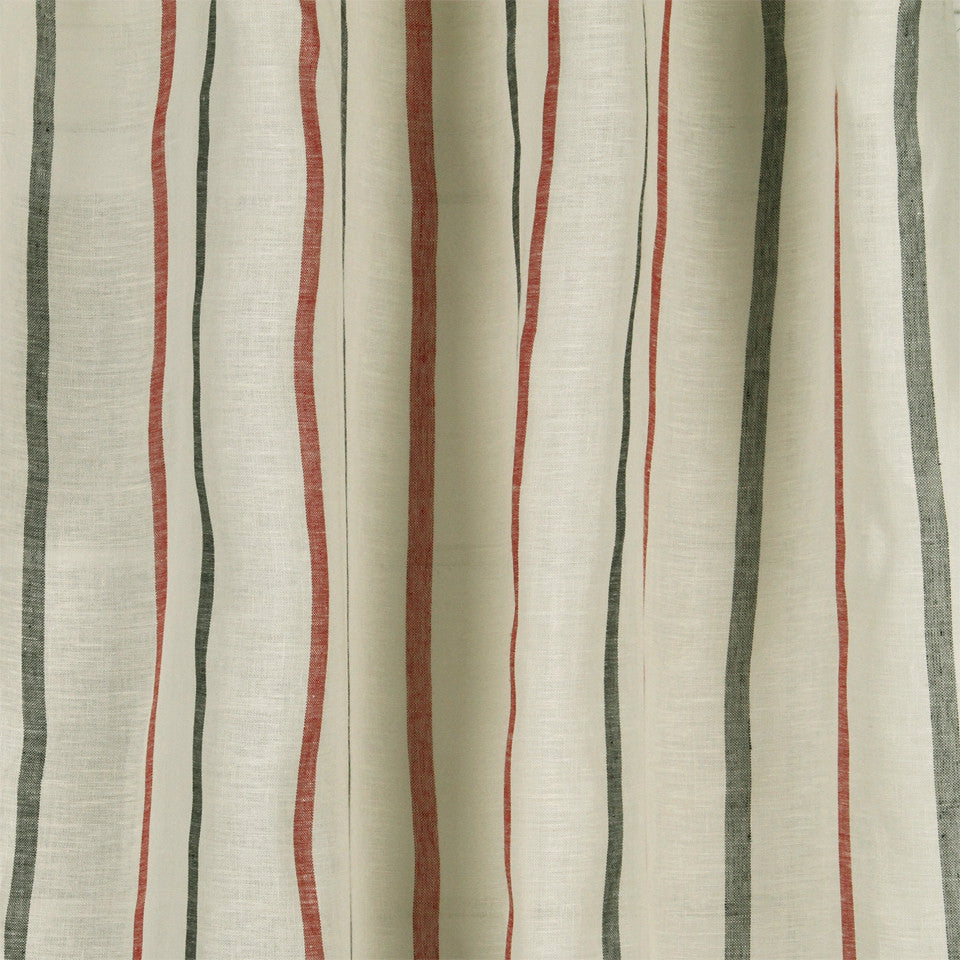 LINEN SHEERS STRIPES & PLAIDS Faint Lines Fabric - Denim