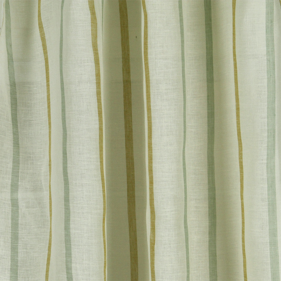 LINEN SHEERS STRIPES & PLAIDS Faint Lines Fabric - Beachglass