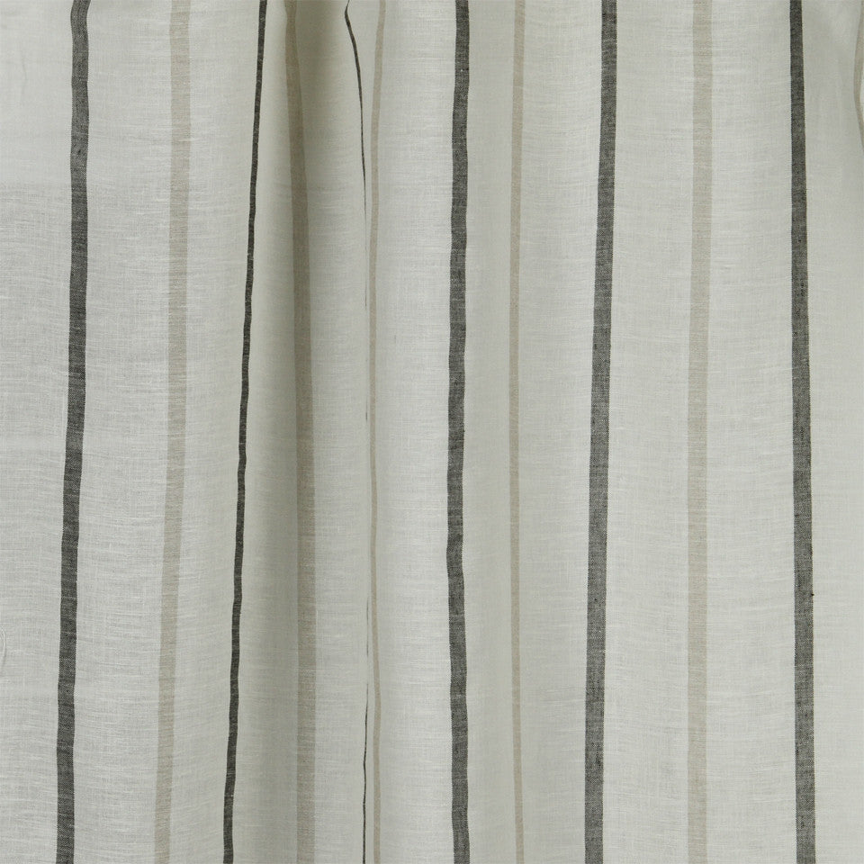 LINEN SHEERS STRIPES & PLAIDS Faint Lines Fabric - Domino