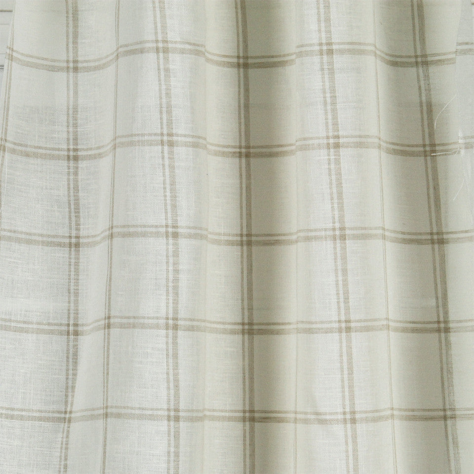 LINEN SHEERS STRIPES & PLAIDS Quiet Squares Fabric - Linen