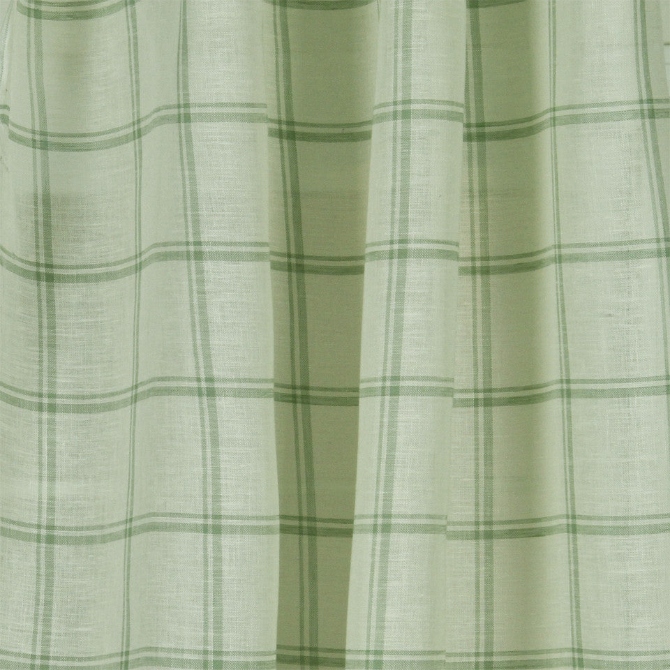 LINEN SHEERS STRIPES & PLAIDS Quiet Squares Fabric - Mineral