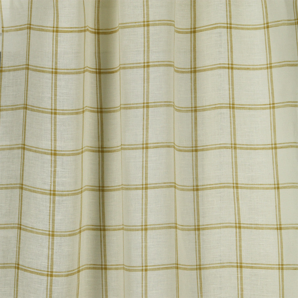 LINEN SHEERS STRIPES & PLAIDS Quiet Squares Fabric - Citrine