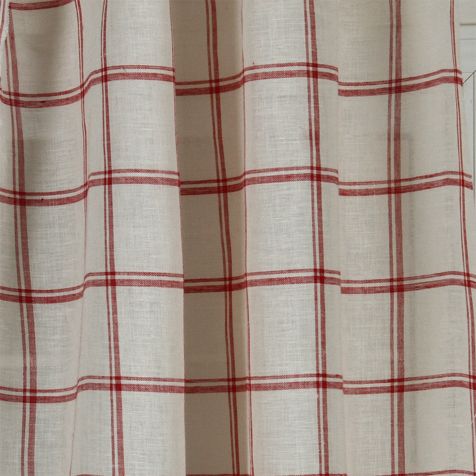 LINEN SHEERS STRIPES & PLAIDS Quiet Squares Fabric - Poppy