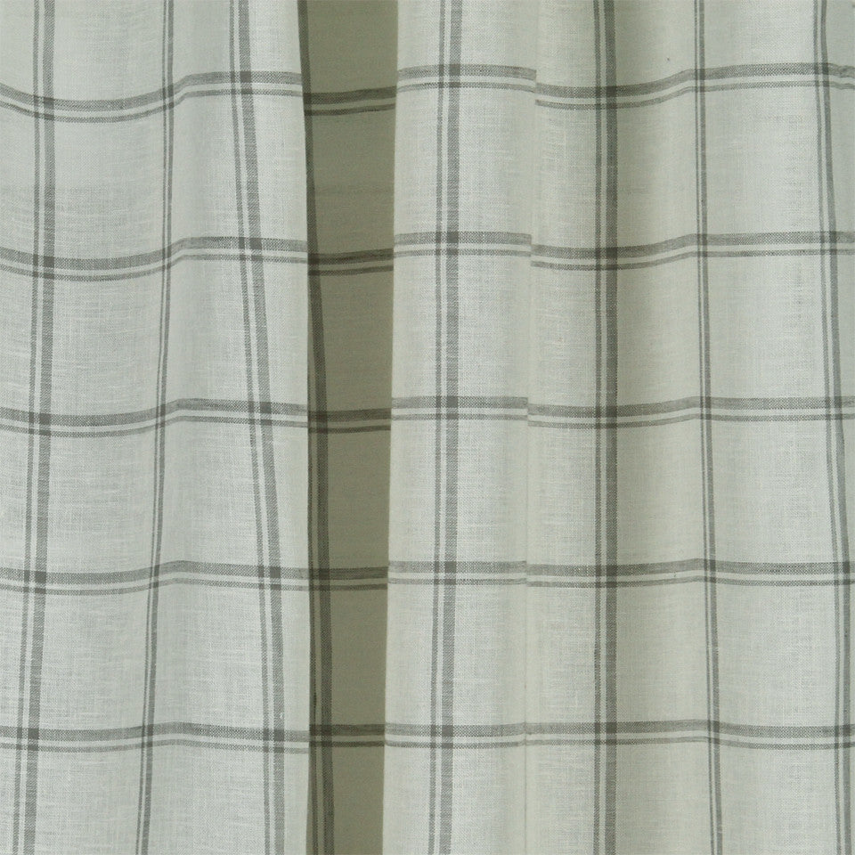 LINEN SHEERS STRIPES & PLAIDS Quiet Squares Fabric - Smoke