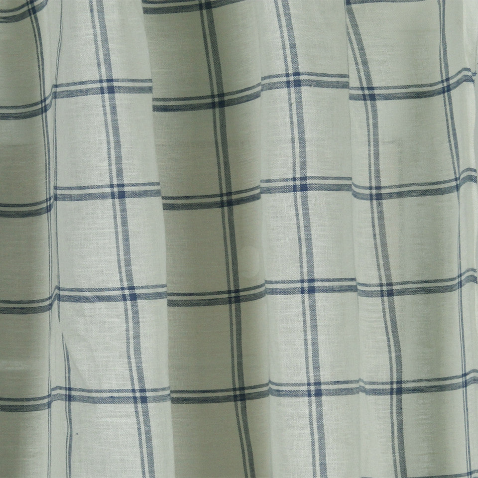 LINEN SHEERS STRIPES & PLAIDS Quiet Squares Fabric - Bluebell