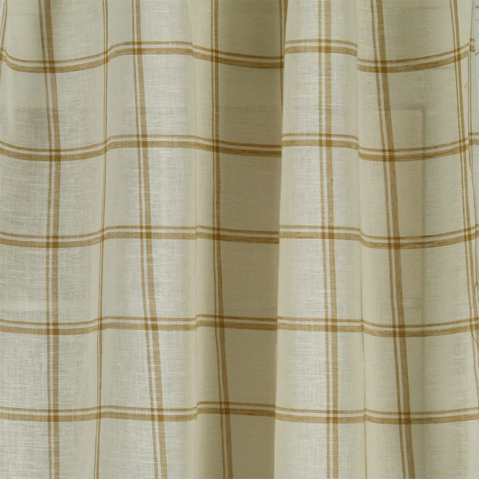 LINEN SHEERS STRIPES & PLAIDS Quiet Squares Fabric - Honeysuckle
