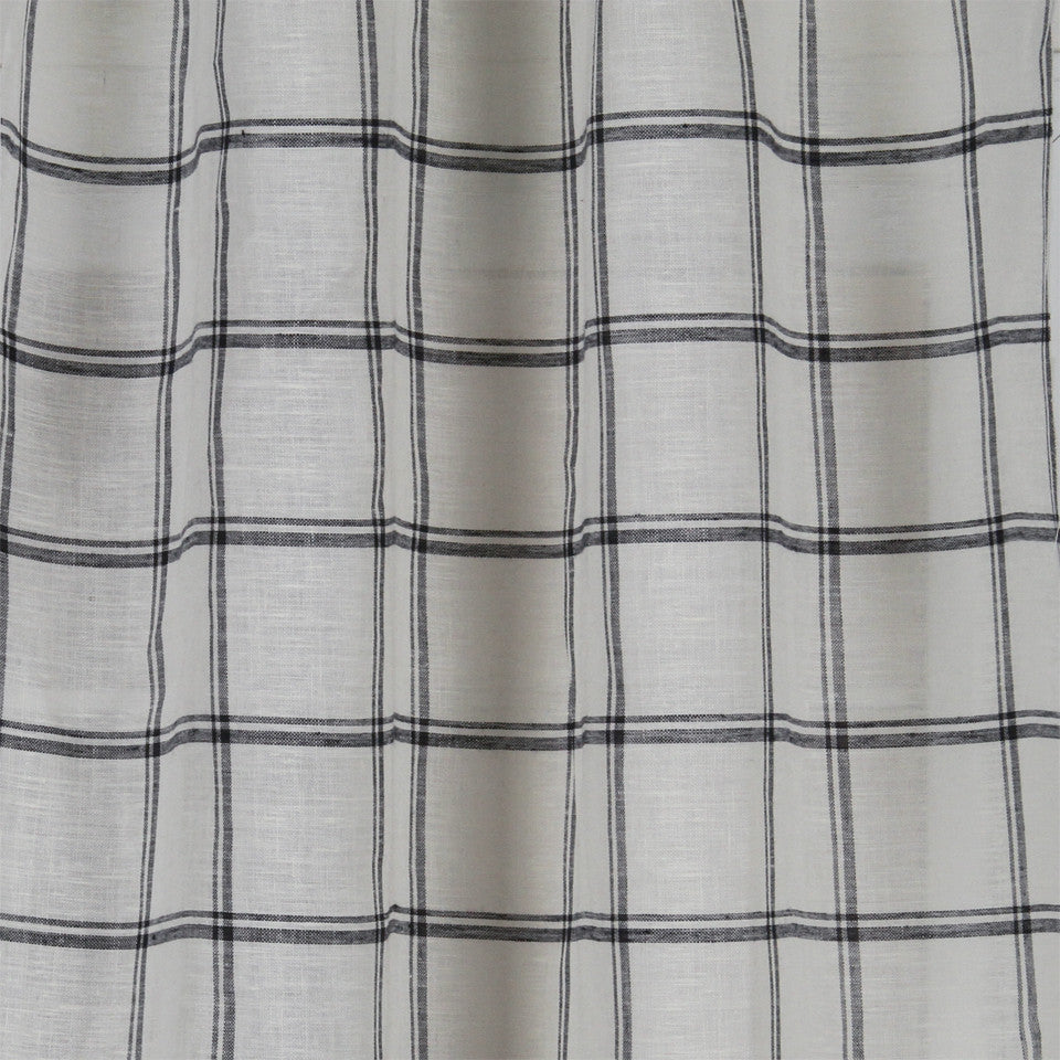 LINEN SHEERS STRIPES & PLAIDS Quiet Squares Fabric - Navy