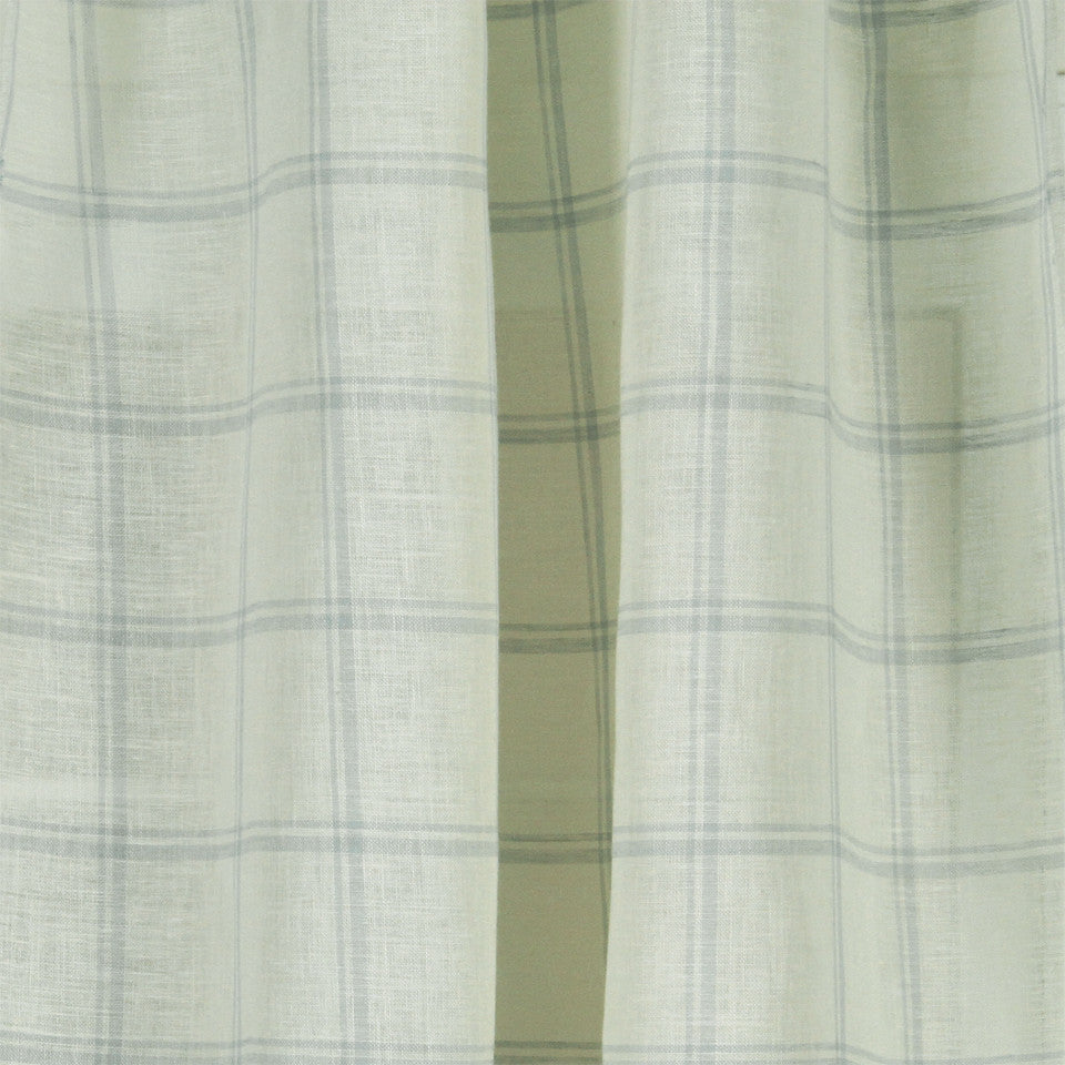 LINEN SHEERS STRIPES & PLAIDS Quiet Squares Fabric - Pool
