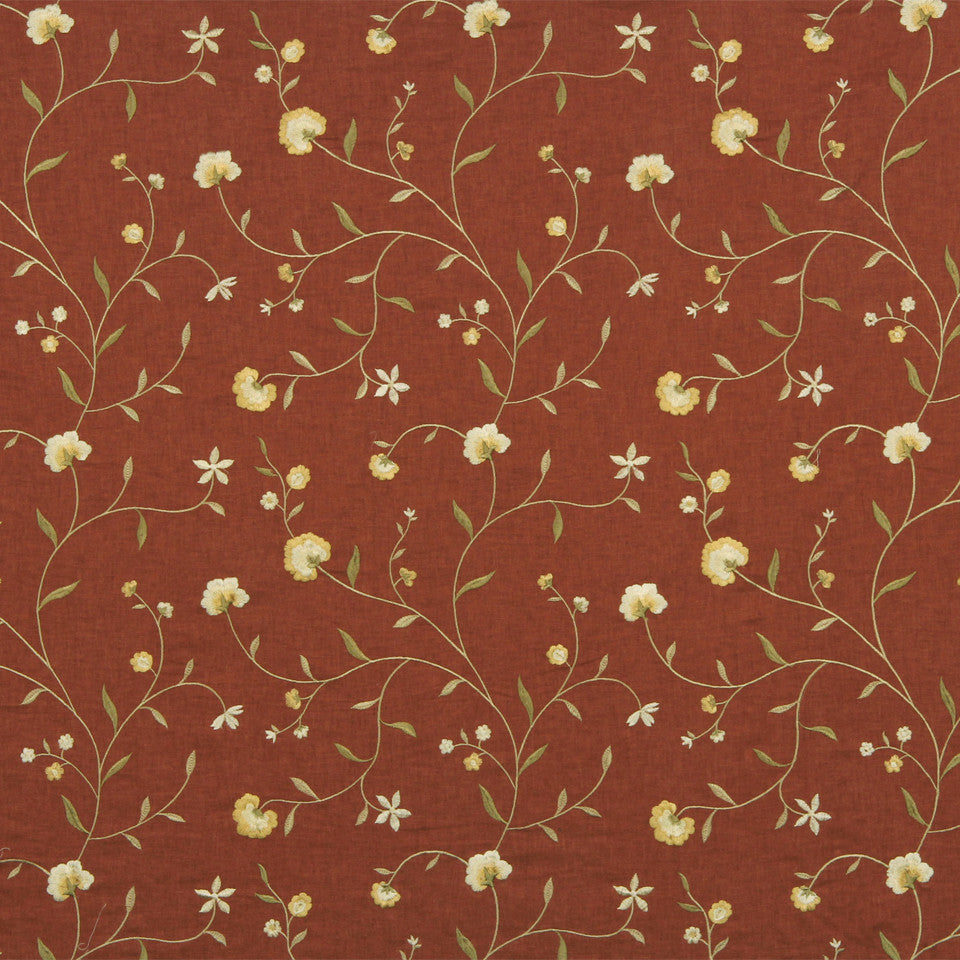 WARM Vine Blossom Fabric - Redwood
