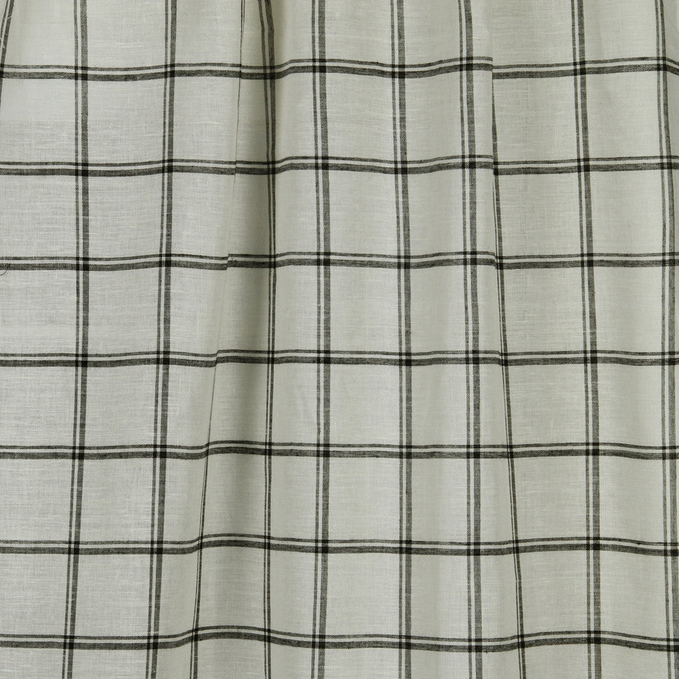 LINEN SHEERS STRIPES & PLAIDS Quiet Squares Fabric - Black